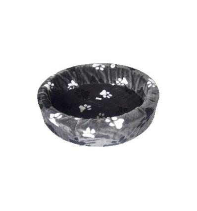 Hundebett plüsch grau mit großen Pfoten