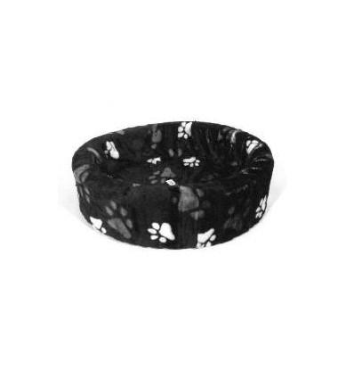 Hundebett plüsch schwarz mit großen Pfoten