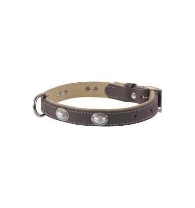 Hundehalsband oder Katzenhalsband braun mit Perlen